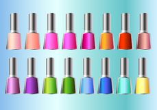 16 different nail polish in 16 different colors royalty free illustration