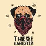 Gangster pug dog Print on T-shirt stock illustration