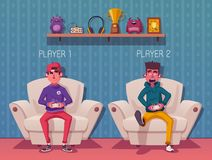 Friends is gaming. Gamers playing video game. Cartoon vector illustration stock illustration
