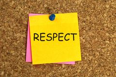 Respect note. Respect post-it pinned to cork noticeboard royalty free stock photography