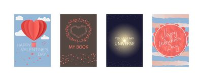 Collections of cards for Happy Valentine`s day, My Book, you are my universe. Typography poster, card, label, banner design set. V vector illustration
