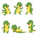Collection of cute crocodile character cartoon. Illustration of collection of cute crocodile character cartoon vector illustration