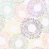 Seamless floral pattern with colorful wreath. stock illustration