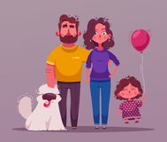 Happy couple in love. Character design. Cartoon vector illustration. Man and woman hold hands. Saint Valentine. Family with a dog vector illustration
