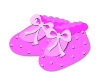 Pink baby booties. With bows and dots, paper cut effest vector illustration
