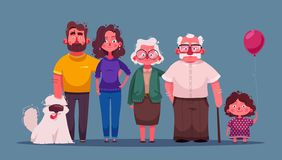 Big happy family together. Character design. Cartoon vector illustration. Three generations - grandparents, parents and children royalty free illustration