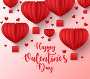Happy valentines day greetings card design with paper cut heart shape flying balloon stock illustration