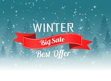 Big winter sale poster with Christmas winter landscape background vector illustration