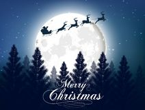 Merry christmas greeting card with big shinny moon in the night forest background stock illustration