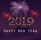 Happy New Year 2019 with fireworks background stock illustration