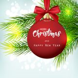 Christmas background with fir tree and red ball stock illustration