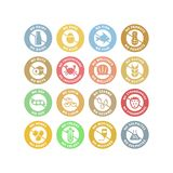 No allergens circle stickers colorful stamp set. vector illustration