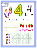 Educational page for kids with number 4. Count and paint corresponding quantity of fruits. Printable worksheet for children book stock illustration