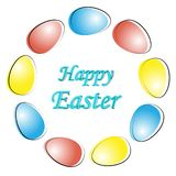 Easter egg . Wreath of eggs. Happy Easter composition. Lined up with different colors stock photo