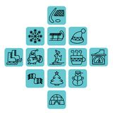 Winter icons in blue squares vector illustration