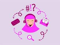 Contact Us or Operator hijab stock illustration