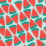 Fruity seamless vector pattern with watercolor paint textured watermelon pieces. Striped background. Fruity seamless vector pattern with watercolor paint vector illustration