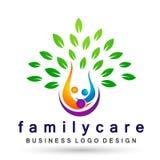 Family tree health care logo, family, parent, kids,green love, parenting, care, symbol icon design vector on white background. Family tree logo, family, parent vector illustration