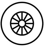 Car wheel Vector icon which can be easily modified or edit in any color royalty free illustration