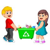 Two children carry on recycle bin. Illustration of Two children carry on recycle bin royalty free illustration