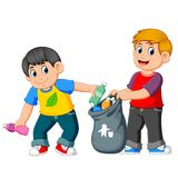 Two boys collecting Rubbish. Illustration of Two boys collecting Rubbish stock illustration