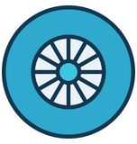 Car wheel Vector icon which can be easily modified or edit in any color vector illustration