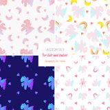 Cute seamless pattern set.Cloudy horse and bear with rainbow. Cute illustration vector illustration