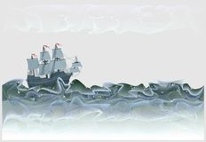 Fantasy illustration of ancient sailboat Spanish galleon. Stormy waves of sea in form of abstract lines meandering. Vector image. Developing children skills for stock illustration
