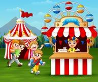 Happy children having fun in the amusement park. Illustration of Happy children having fun in the amusement park royalty free illustration