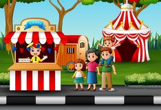 Happy family in the Amusement park. Illustration of Happy family in the Amusement park royalty free illustration
