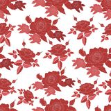 Seamless pattern with stylized roses flowers. stock illustration