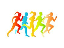 Man & Woman running. Set of silhouettes of running men and women. Vector. stock illustration