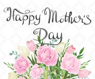 Happy Mother`s Day. Bouquet of peonies and tulips vector illustration