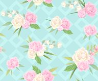 Seamless pattern with pink and white peonies and rhombuses vector illustration