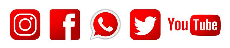 Set of popular social media logos icons in red Instagram Facebook Twitter Youtube WhatsApp element vector on white background royalty free illustration