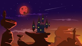 Blood full moon eclipse castle on great rock vector illustration