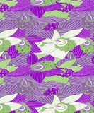 Green and Purple Orchids With White Flowers Pattern stock illustration