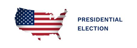 Vector illustration banner with USA map. American flag. Presidental election in 2020 royalty free illustration
