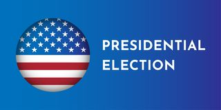 Vector illustration banner with round shape american flag. Presidental election in USA vector illustration