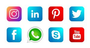 Set of popular social media logos icons Instagram Facebook Twitter Youtube WhatsApp element vector on white background. Set of popular social media logos icons stock illustration