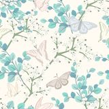 Seamless pattern with butterflies and white flowers royalty free illustration