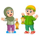 Moslem kids holding lantern. Illustration of Moslem kids holding lantern stock illustration
