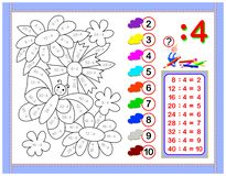 Exercises for kids with division by number 4. Paint the picture. Educational page for mathematics baby book. Printable worksheet. vector illustration