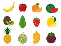 Collection of healthy fruit vector set. Vector illustration stock illustration