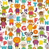 Seamless pattern with cute animals vector illustration