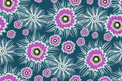 Vector seamless pattern with pink and white abstract flowers. vector illustration