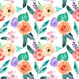 Beautiful Watercolor floral seamless pattern royalty free illustration