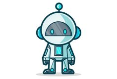 Vector Cartoon Illustration Of Cute Robot. Isolated on white background vector illustration