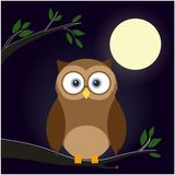 Cute cartoon owls collection. A fun little owl. Flat color illustration at night time. Moon. Tree. Leafes stock illustration