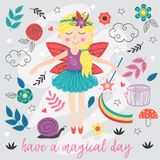 Poster with magic forest fairy. Vector illustration, eps royalty free illustration